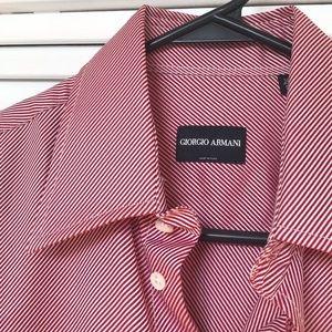 🆕NWT Giorgio Armani Striped Button Up Dress Shirt